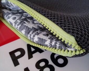 Vegan bag, handmade pochette, dark grey fabric, neoprene pochette/handbag, pattern lining, zipped, gift, made in Italy