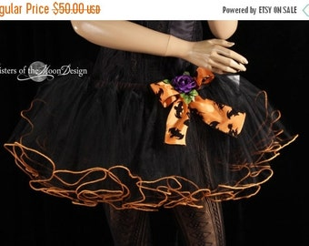 ON SALE Orange trimmed tutu skirt adult ruffles halloween costume dance petticoat bow bats purple flower -Med -Ready to ship -Sisters of the
