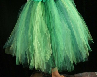 ON SALE Absinthe fairy Streamer knee length tutu skirt mixed greens adult costume dance fantasy forest -Ready to Ship - Large - Sisters of t