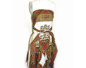 Vintage 1970's Ethnic Print Cotton Halter Dress B32 W22