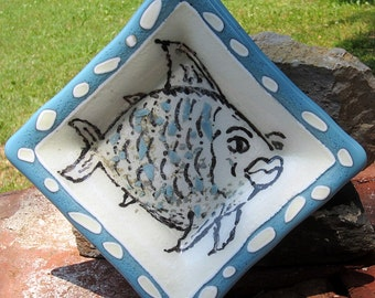 Hand painted fused glass fish dish bowl blue and ivory white
