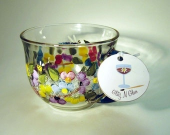 Hand Painted Tea Cup With Multi-Colored Mums,  Dragon Fly, Bee