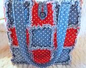 Red, White, and Blue Polka Dot Rag Quilt Tote, Handmade, Rag Quilt Handbag