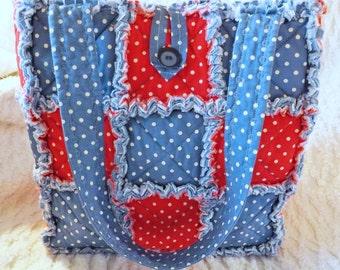 Red White and Blue Polka Dot Rag Quilt Tote - Handmade - Rag Quilt Handbag