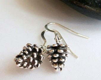 Handcrafted Artisan Solid Sterling Silver Pine Cone Boho Hippie Autumn Fall Winter Festival Gift for Her Minimalist Dangle Drop Earrings