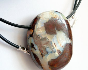 Artisan Unisex Large Boulder Opal Italian Leather Cord Sterling Silver Bohemian Rustic Minimalist Statement Pendant Necklace