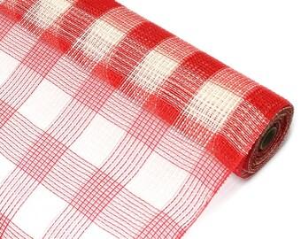 "Narrow 10"" Cream and Red Plaid Fabric Mesh - New Deco Mesh Fabric -   XB98510-10"