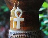 Ankh Earrings, Bone Ankh Earrings, Egyptian Ankh, Kemetic Earrings, Nubian Goddess Bone Ankh Pendant Earrings