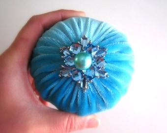 "ON SALE 4"" Aqua Emery Pincushion / Pin Cushion - Abrasive Pincushion LIMITED Edition"