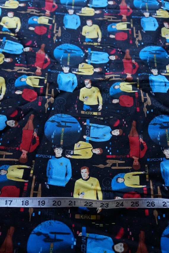 Star trek captain kirk doctor spock space fabric almost for Space fabric nz