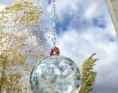 Pixie Fairy Orb / Witch Ball, Hand Blown Glass, Hanging Ornament, Blues with Blue Ribbon Cane Bead
