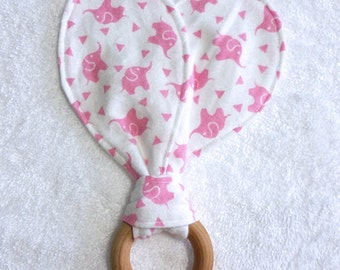 Pink Baby Elephants, Bunny Ears Teething Ring, Maple Hard Wood Teething Ring
