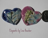Two Handcrafted Porcelain Heart Pendants