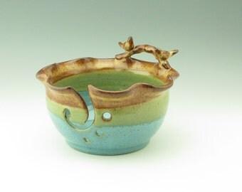 Lovebirds on a Branch Yarn Bowl - Handmade Pottery Honey & Jewel Large 9 inch Knitting Bowl - Decorative Pottery Crochet Bowl Gift for Mom