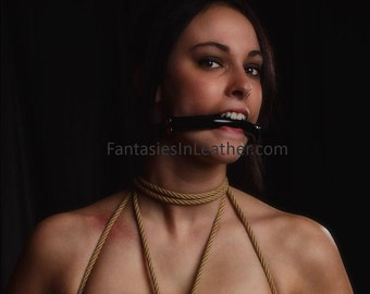 Vinyl & Leather Bit Gag BDSM  (GBH109)