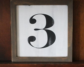 Number Sign Framed 9x9 inches Vintage Look Farmhouse Style Gallery Wall Cottage Chic