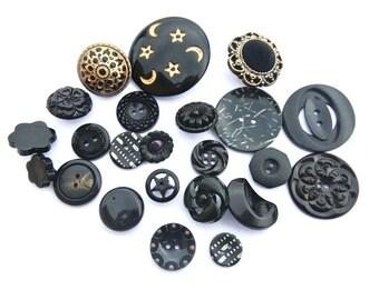 23 Buttons, antique and vintage plastic buttons, black, assorted design