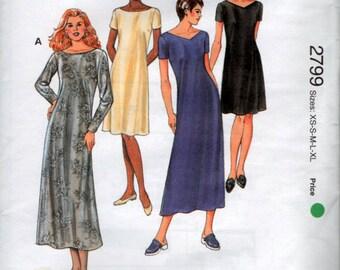 Multi Size Sewing Pattern Semi fitted Dress Kwik Sew 2799 1990's Fashion