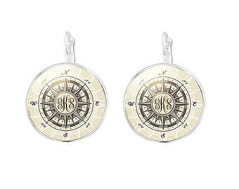 Compass Earrings, Monogram Personalized Earrings, Jewelry gift, Nautical gift for her