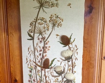 Vintage crewel wild flower  tapestry embroidery extra large home decor wall hanging queen annes lace dandelions mid century modern boho