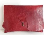 SALE Raw edge leather clutch with vintage key - raspberry