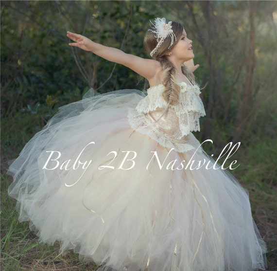 Vintage Dress Flower Girl Dress Lace  Dress Wedding Dress Tulle Dress Blush Dress Birthday Dress Party Dress Toddler Tutu Dress Girls Dress