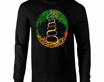 Long Sleeve Colorful Tree of Life Double Helix Art T-Shirt