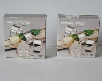 Wm A Rogers Silverplated Napkin Rings 2 Boxes Silver Plate