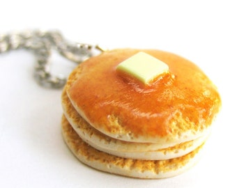 Pancake Necklace, Food Jewelry, Miniature Food, Food Necklace, Breakfast Necklace, Pancakes