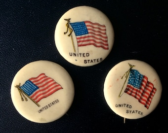 Antique Vintage Trio of Sweet Caporal American Flag Buttons