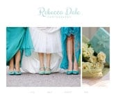 "Responsive Blogger Template / Slideshow / Premade Blog Design - ""Rebecca Dale"" Blue Turquoise"