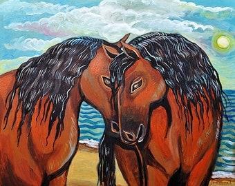 Kissing Horses - Print