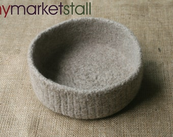 All Natural Felted Wool Bowl - Taupe- In Stock - Ready to Ship