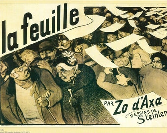 """Steinlen's """"la feuille par Zo d'Axa dessins de Steinlen"""" Reproduced French Vintage Poster to Frame or Paper Arts, Collage & MORE PSS 2730"""