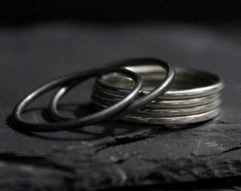 16G Simple Smooth Sterling Silver Stacking Ring || Oxidized Blackened Rustic Rings | GUGMA Women's Minimalist Jewelry