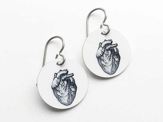 anatomy earrings graduation medical student jewelry gift anatomical heart brain skull party favor doctor nurse physician assistant accessory