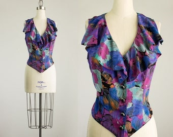 Cherie Vintage / 90s Vintage Floral Print Ruffle Sleeveless Top / Size Small / Medium / Indie Hipster Style / Vest / Shirt / Blouse