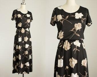 90s Vintage Black Ivory And Ecru Floral Print Stretch Maxi Dress / Size Medium / Grunge Revival 1990s Hipster Style