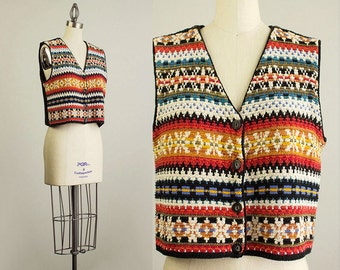 90s Vintage Geometric Slouchy Cropped Sweater Vest Top / Size Medium
