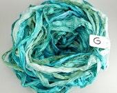 Sari Silk Ribbon, Recycled Silk Sari Ribbon, Turquoise sari ribbon, recycled rag ribbon