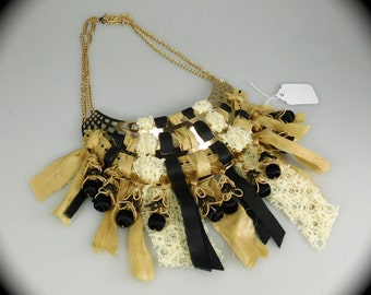 Sari bib necklace, Bib necklace, choker necklace, sari ribbon necklace, leather and lace bib necklace, boho bib necklace