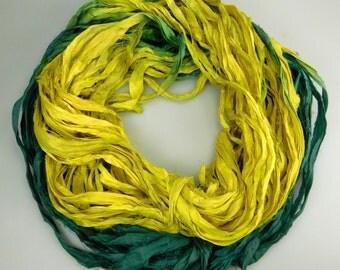 Silk Sari Ribbon, Sari Ribbon, Green sari ribbon, yellow ribbon, Green silk Sari Ribbon