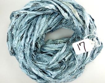 Sari silk Ribbon, Recycled Silk Sari Ribbon, Blue sari ribbon, Block print Sari Ribbon, blue printed ribbon