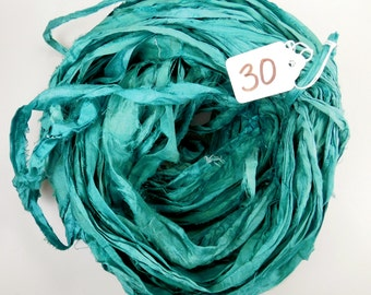 Sari Silk Ribbon, Silk Sari Ribbon, teal sari ribbon, Silk sari ribbon, teal ribbon, ribbon yarn