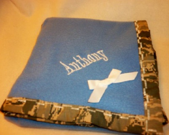 Military Camo Fleece Cuddly Baby blanket choose Army Air Force Marines or Navy Personalize perfect for baby shower gift Modern baby