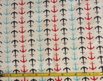 NEW Riley Blake Anchors Red and Blue  cotton Lycra  knit fabric 1 yard