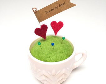 You are my heart pincushion, Antique pink milkglass pincushion, one of a kind, mother's day gift
