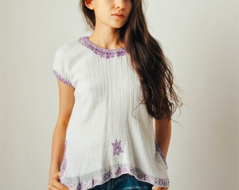 Vintage White Gauze Top with Purple Embroidery