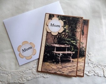 Handmade Mother's Day Card: complete card, handmade, balsampondsdesign, greeting cards, cards,brown, bench