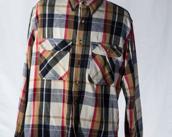 Men's Plaid Shirt / Vintage Navy and Brown Flannel / Size XL / #2087